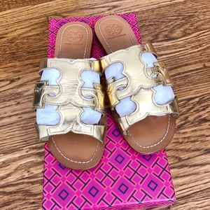 Tory Burch Light Gold Anchor Sandals US6